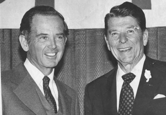 Gov. Milliken campaigns with Republican presidential candidate Ronald Reagan in Michigan on Feb. 18, 1980.