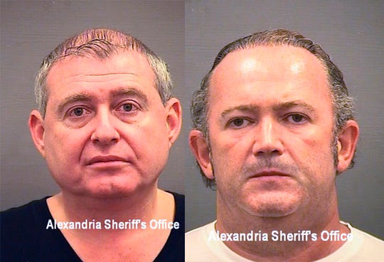 This combination of Wednesday, Oct. 9, 2019, photos provided by the Alexandria Sheriff's Office shows booking photos of Lev Parnas, left, and Igor Fruman. The associates of Rudy Giuliani, were arrested on a four-count indictment that includes charges of conspiracy, making false statements to the Federal Election Commission and falsification of records.
