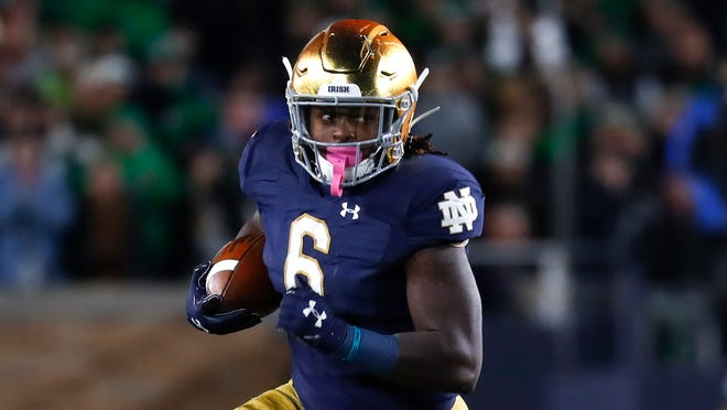Notre Dame running back Tony Jones Jr. is averaging 7.0 yards a carry (557 yards on 50 attempts) and has four touchdowns.