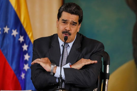 FILE - In this Sept. 30, 2019, file photo, Venezuela's President Nicolas Maduro speaks during a press conference at the Foreign Ministry in Caracas, Venezuela.