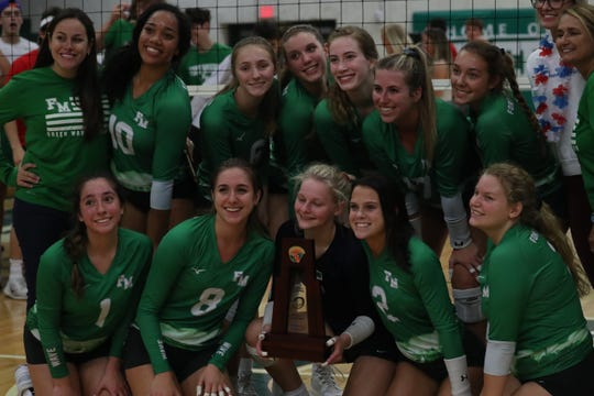 Fort Myers faces Riverdale in the Class 6A-District 8 volleyball championship game on Thursday, October 17, 2019, at Fort Myers High School.