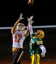 CMR's Bryce Nelson defends a pass intended for Billings Senior's Jacksen Burckley during a football game last season at Memorial Stadium.
