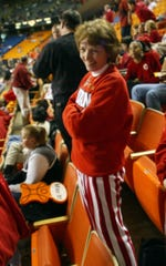 Tom Coverdale's mom is shown in the stands of his IU game at Rupp Arena in March of 2002.