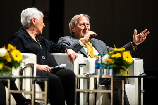 University of Iowa president J. Bruce Harreld speaks during the 'Future of Public Higher Education at America's Leading Research Universities' featuring former presidents, Friday, Oct., 18, 2019, at Voxman Music Building on the University of Iowa campus in Iowa City, Iowa.