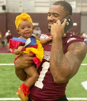 Mississippi State senior safety Jaquarius Landrews said he enjoys being with his daughter, Nevaeh, more than anything.
