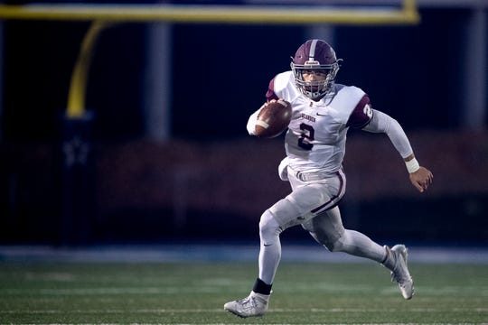 Bearden's Collin Ironside (2) looks to pass against Farragut on Thursday, Oct. 17, 2019, at Farragut High School in Knoxville, Tenn.
