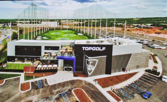 The Top Golf site plan was approved at the MPC meeting on October 17.  This depiction   looks south from Outlet Drive.