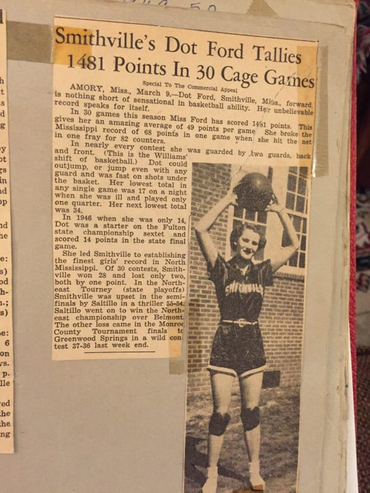 LSU quarterback Joe Burrow's grandmother, Dot Ford, scored a Mississippi High School record 82 points for Smithville High School in the 1949-50 season and averaged 50 points a game.