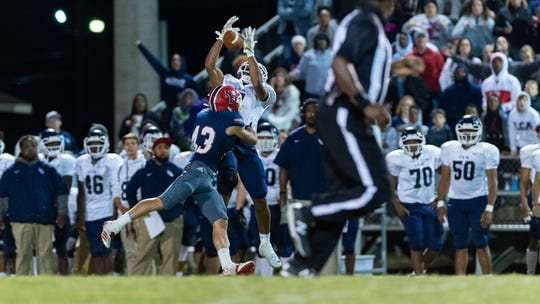 Errol Rogers Jr goes up for a pass as Notre Dame takes on LCA football, Thursday, Oct. 17, 2019.
