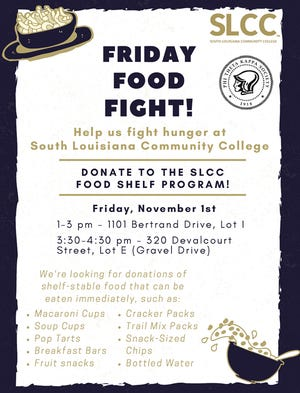 South Louisiana Community College Phi Theta Kappa Society members are asking for businesses and community members to donate foods to fill the school's food pantry shelves and fight food insecurity students face.