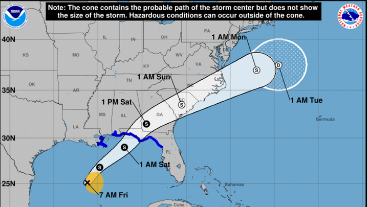 A tropical system is moving quickly Friday toward the coast of the Gulf of Mexico, threatening to become a tropical storm.