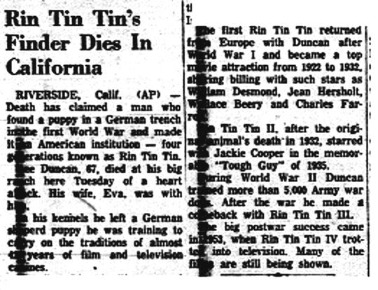 This obituary is from the Sept. 21, 1960 Lancaster Eagle-Gazette.