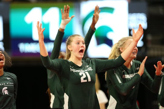 Michigan State volleyball middle blocker Rebecka Poljan reacts during the match against Ohio State on Oct. 4, 2019.