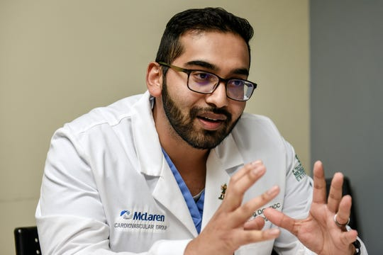 Doctor Awais Kang, a cardiologist at McLaren Greater Lansing, talks about high blood pressure and high cholesterol on Thursday, Oct. 17, 2019, at the hospital in Lansing.
