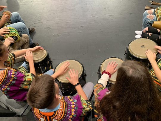 Two Rivers High School drumming students.
