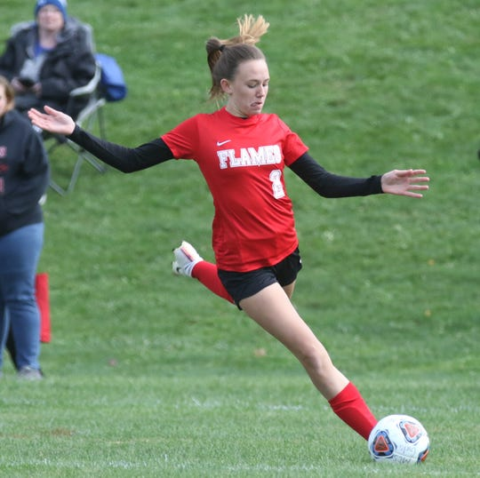 Mansfield Christian freshman Anna Sparks scored a goal in the Lady Flames 4-1 win over Van Buren to claim a sectional championship.