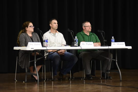 Three candidates are vying for two open school board seats in the Madison Local School District. From left are Melissa Walker, Adam Porter and Doug Mosier.