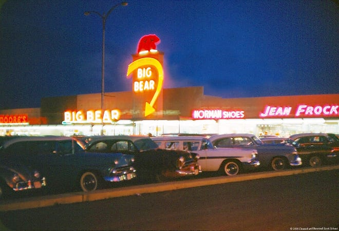 Big Bear The West Park Shopping Center parking lot was packed with customers in this photograph taken in the late 1950s. Today only 10 of 30 stores are open for business and code violations led to a condemnation order from the city until repairs were made this summer.