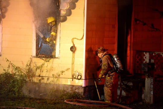 Firefighters battled a blaze early Friday morning in the 100 block of West Blanche Street.