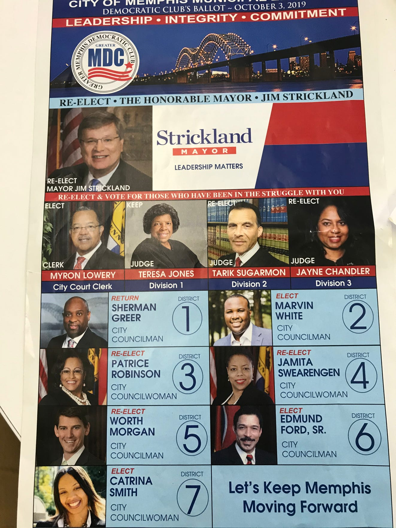 The Greater Memphis Democratic Club ballot featured candidates along with official-looking logos and slogans.