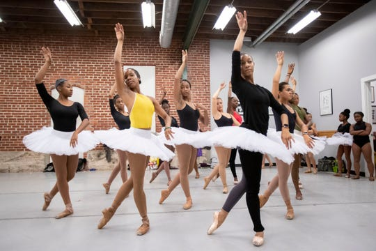 "Student and professional dancers rehearse ""Swan Lake"" on Thursday, Oct. 17, 2019, during a dance practice at Collage Dance Collective in Memphis."