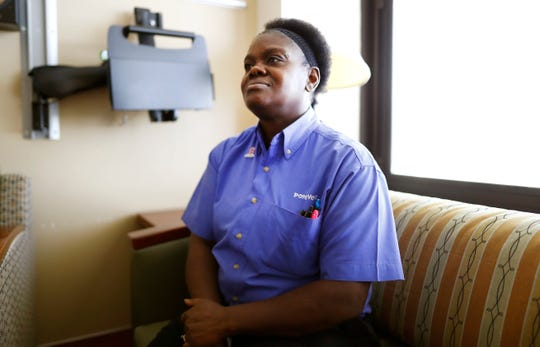 Vermia Jackson, the mother of Sheandrea Henley, who received a scleroderma stem cell transplant, poses for a portrait at Baptist Memorial Hospital-Memphis on Friday, Oct. 18, 2019.