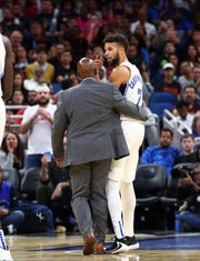 Magic guard Michael Carter-Williams is ejected on a double technical foul after a run-in with Heat guard and former Whitnall star Tyler Herro on Thursday night.