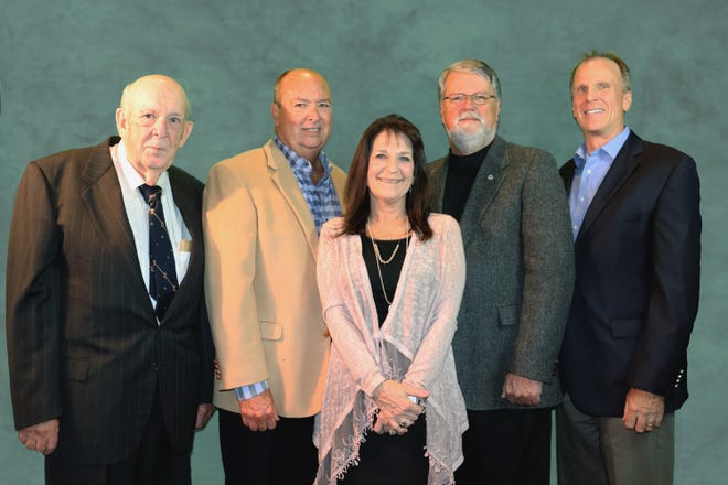The 2019 inductees into the Mountain Home Education Foundation's Hall of Honor include (from left) Ralph Ingram, Dean Sanders, Joy Walker, Mike Walker and Ron Peterson, representing Baxter Regional Medical Center.