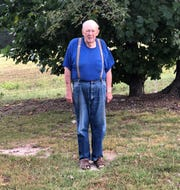 Retired Mountain Home High School math teacher Ralph Ingram stands on his Moccasin Creek farm. Ingram taught in the Mountain Home School District for 44 years.