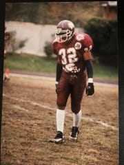 Steven Reed lines up before a play during his playing days as a cornerback at Morehouse College.