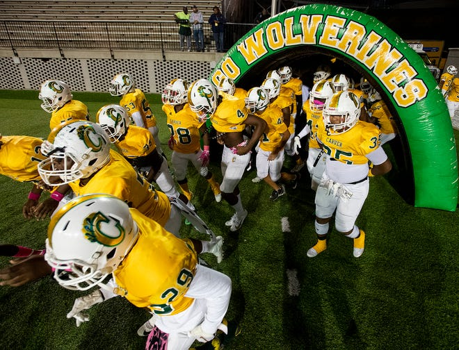Carver takes the field against Eufaula at Cramton Bowl in Montgomery, Ala., on Thursday October 17, 2019.