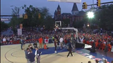 The Auburn men's and women's basketball team do 3-point, skill, 3-on-3 and dunk contests in the heart of downtown.