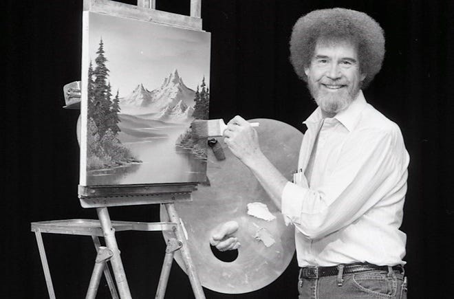 Bob Ross is shown on set at the WIPB studio at Ball State University in the early 1990s.
