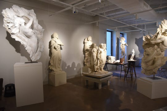 Several pieces from sculptor Frederick Hart in Belmont University's Frederick Hart Collection museum. The collection is in the Lila D. Bunch Library.