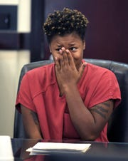 Genova Smith becomes emotional during a bond hearing in Judge Steve Dozier's courtroom inside the Justice A.A. Birch building in Nashville  Friday, Oct. 18, 2019.