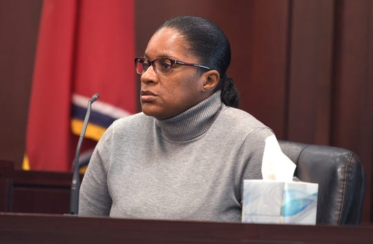 Genova Smith's mother, Tasha Smith,  testifies  during a bond hearing for Genova Smith in Judge Steve Dozier's courtroom inside the Justice A.A. Birch building in Nashville  Friday, Oct. 18, 2019.