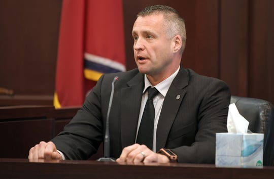 Nashville detective Chris Bowden testifies during a bond hearing for Genova Smith in Judge Steve Dozier's courtroom inside the Justice A.A. Birch building in Nashville  Friday, Oct. 18, 2019