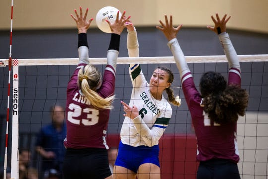 Seacrest Country Day's Breanah Rives attacks during the 2A-12 district championship volleyball game on Thursday, October 17, 2019, at First Baptist Academy.