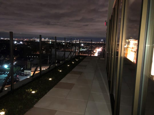 NYC skyline view at Montclair's MC Hotel, opening night, October 17, 2019.