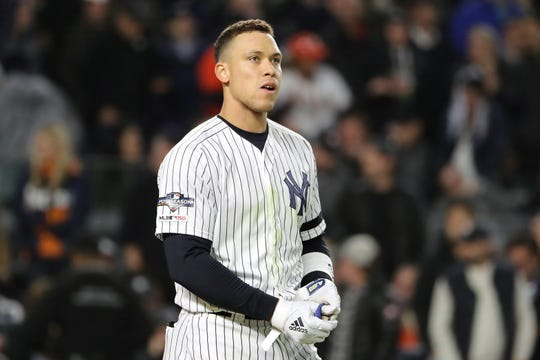 Aaron Judge #99 of the New York Yankees reacts after striking out against the Houston Astros during the sixth inning in game four of the American League Championship Series at Yankee Stadium on October 17, 2019 in New York City.