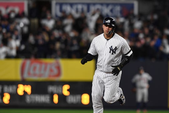 Yankees vs. Astros in Game 4 of the American League Championship Series at Yankee Stadium on Thursday, October 17, 2019. Yankees #24 Gary Sanchez on his way to third base after hitting a home run in the sixth inning.