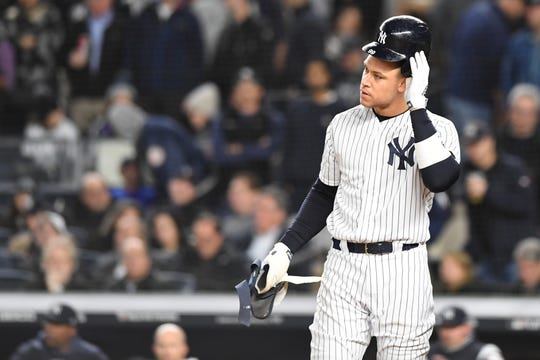Yankees vs. Astros in Game 4 of the American League Championship Series at Yankee Stadium on Thursday, October 17, 2019. Yankees #99 Aaron Judge after striking out in the second inning.