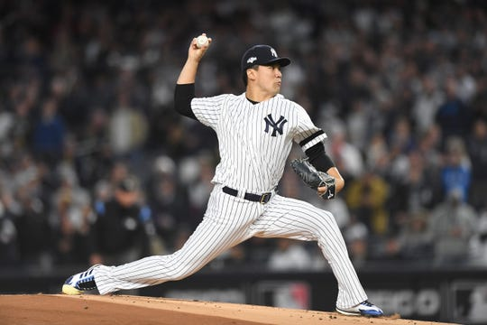 Yankees vs. Astros in Game 4 of the American League Championship Series at Yankee Stadium on Thursday, October 17, 2019. Yankees #19 Masahiro Tanaka.