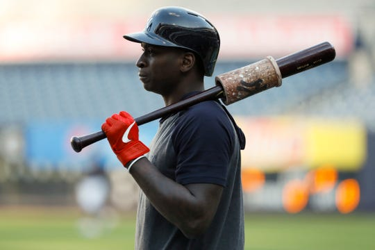 New York Yankees shortstop Didi Gregorius prepares to take batting practice before Game 5 of baseball's American League Championship Series against the Houston Astros Friday, Oct. 18, 2019, in New York. (AP Photo/Matt Slocum)