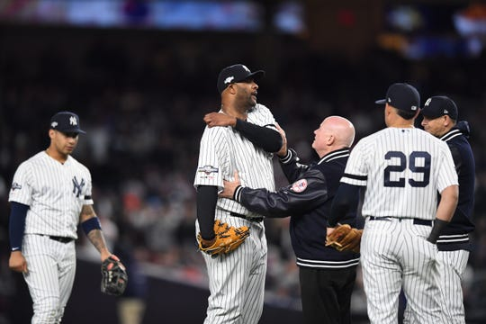 Yankees vs. Astros in Game 4 of the American League Championship Series at Yankee Stadium on Thursday, October 17, 2019. Yankees #52 CC Sabathia before being taken out of the game.