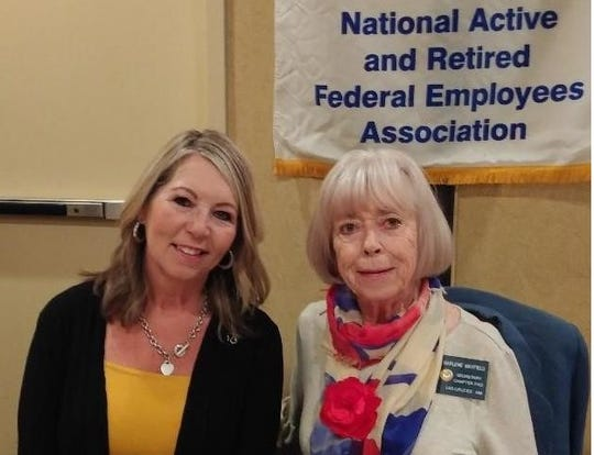 Tracy Ayers, left, certified dementia provider and president of the advisory board of the NM Alzheimer's Association, and Marlene Mayfield, secretary of National Active and Retired Federal Employees Association Las Cruces Chapter 0182.