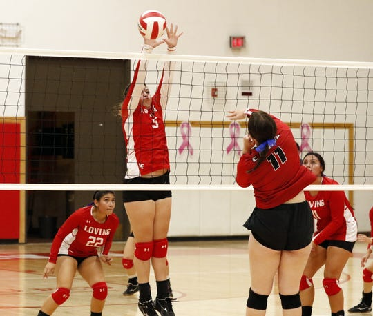 Highlights of Loving's district opener against Eunice. The Eunice Lady Cardinals beat the Loving Lady Falcons in three sets on Oct. 17, 2019.