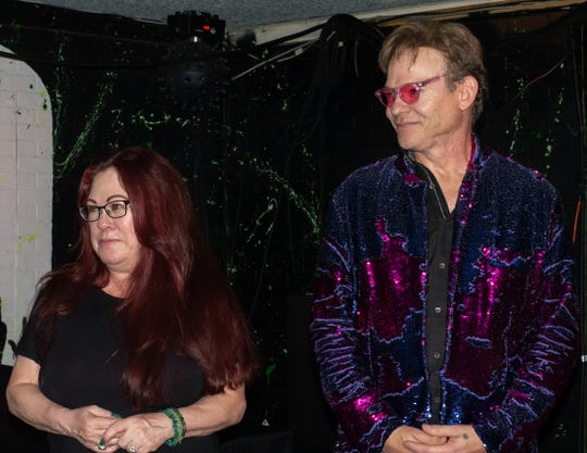 'CV Weekly' publisher Tracy Dietlin (left) and Alfie Petit (right) at The Hood Bar and Pizza in Palm Desert, Calif. on Sep. 28, 2019.