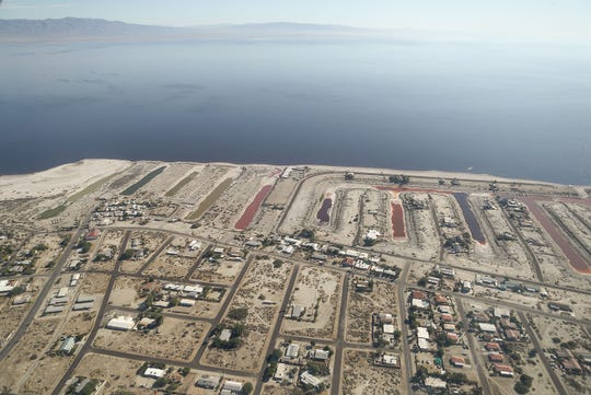 The small community of Desert Shores, Calif., sits on the Salton Sea's west side in this aerial image, October 17, 2019.  Aerial support provided by LightHawk