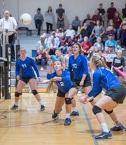 Carsyn Seib (2) keeps the ball alive during the Jay vs Baker District 1-1A volleyball tournament final at Northview High School on Thursday, Oct. 17, 2019.